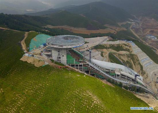 Aerial photo taken on July 30, 2020 shows the construction site of the National Ski Jumping Center in Chongli District of Zhangjiakou City, north China's Hebei Province. (Xinhua/Zhang Chenlin)