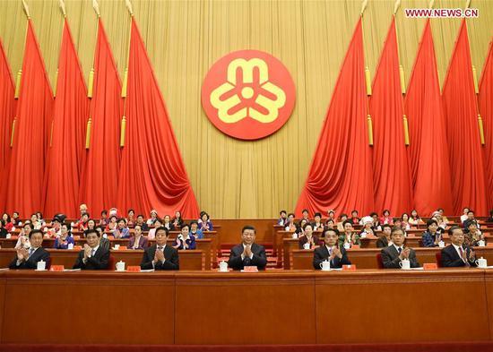 Xi Jinping, Li Keqiang, Li Zhanshu, Wang Yang, Wang Huning, Zhao Leji and Han Zheng attend the opening of the 12th National Women's Congress (NWC) in Beijing, capital of China, Oct. 30, 2018. (Xinhua/Ju Peng)