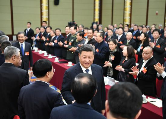 President Xi joins a joint panel discussion attended by political advisors from the sectors of culture and art, and social sciences, March 4th, 2019. [Photo: Xinhua]