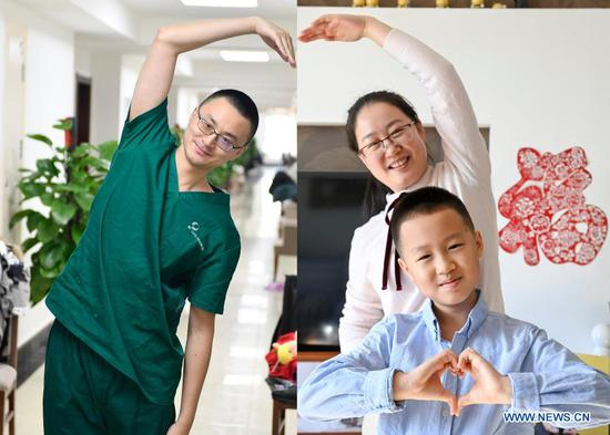 Combo photo shows Si Daoyuan making a hand heart gesture in Tonghua, northeast China's Jilin Province, Feb. 9, 2021 (L, photo taken by Xu Chang), and his wife Ni Lujia and their son Si Tongxun making hand heart gestures at home in Changchun, northeast China's Jilin Province, Feb. 9, 2021 (R, photo taken by Yan Linyun). Si Daoyuan, 37, is an internist in the China-Japan Union Hospital of Jilin University. He arrived in Tonghua in January with a medical support team dispatched from his hospital to fight against COVID-19, and now works in the ICU of the Tonghua Central Hospital. He chose to work in the front line of the COVID-19 epidemic control during this Spring Festival with a strong faith that a reunion with family will not be far away. As a part of the preventative measures against COVID-19, China has encouraged people to stay locally for the Chinese New Year. Many Chinese chose not to go back to their hometowns for family gatherings, opting instead to stay where they were for the most important holiday of the year. Xinhua reporters helped those who didn't go back to their hometowns