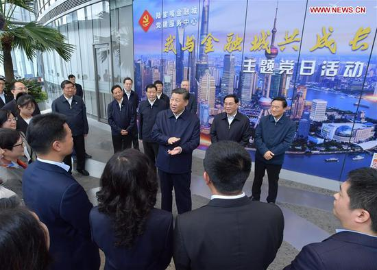 Xi Jinping, general secretary of the Communist Party of China (CPC) Central Committee, Chinese president and chairman of the Central Military Commission, speaks while inspecting the Lujiazui Financial City CPC construction service center in the Shanghai Tower to learn the CPC construction work of the skyscrapers in Pudong New District of Shanghai, east China, Nov. 6, 2018. Xi Jinping inspected Shanghai on Tuesday. (Xinhua/Li Tao)