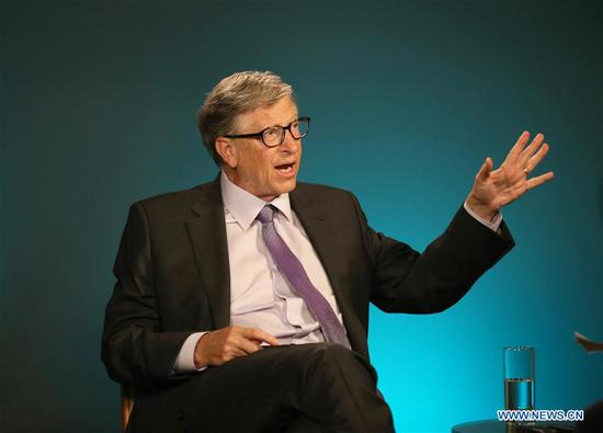 Bill Gates, co-chair of the Bill & Melinda Gates Foundation, receives an exclusive interview with Xinhua in Seattle, the United States, on Nov. 13, 2019. China has made remarkable progress in improving health equity and reducing poverty, offering lessons that could help other developing countries, including in Africa, accelerate their development, Bill Gates has said. (Xinhua/Qin Lang)