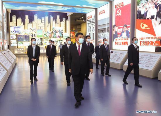 Xi Jinping and other Communist Party of China (CPC) and state leaders Li Keqiang, Li Zhanshu, Wang Yang, Wang Huning, Zhao Leji, Han Zheng and Wang Qishan visit an exhibition on CPC history themed