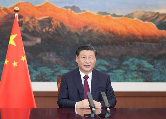 Chinese President Xi Jinping sends a video message to an event held by Bangladesh in commemoration of the centenary of its founding father Sheikh Mujibur Rahman's birth, also in celebration of the 50th anniversary of the country's independence on March 17, 2021. On behalf of the Chinese government and Chinese people, Xi extended sincere greetings and best wishes to Bangladeshi President Abdul Hamid, Bangladeshi Prime Minister Sheikh Hasina, and the Bangladeshi government and people. (Xinhua/Li Xueren)