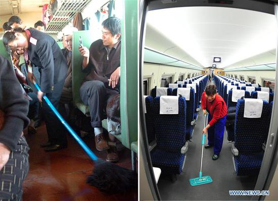 This combo photo shows a train attendant mopping in a train carriage that travels from Urumqi to Kashgar in northwest China's Xinjiang Uygur Autonomous Region, March 10, 2005 (left, photo taken by Sadat); and a worker cleaning a bullet train carriage at a depot in Wuhan, central China's Hubei Province, early on Feb. 10, 2011 (right, photo taken by Cheng Min). (Xinhua)