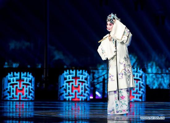 An evening gala is staged for the opening ceremony of the International Horticultural Exhibition 2019 Beijing in Yanqing District of Beijing, capital of China, April 28, 2019. (Xinhua/Wang Ye)