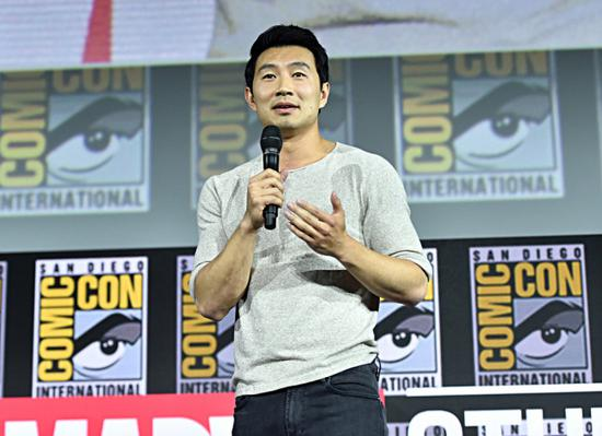 "Chinese-Canadian actor Simu Liu speaks at the San Diego Comic-Con International 2019 Marvel Studios Panel at Hall H in San Diego, California, USA, on July 20, 2019. He will play the lead role in Marvel Studios' ""Shang-Chi and the Legend of the Ten Rings."" [Photo courtesy of The Walt Disney Studios]"