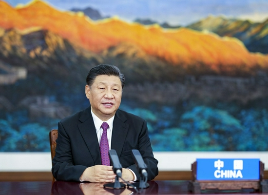 Chinese President Xi Jinping addresses the Informal Economic Leaders' Retreat of the Asia-Pacific Economic Cooperation (APEC) via video link in Beijing, capital of China, July 16, 2021. (Xinhua/Li Xueren)