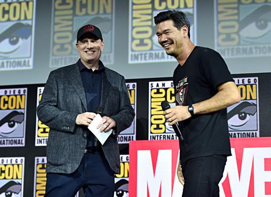 "President of Marvel Studios Kevin Feige and director Destin Daniel Cretton of Marvel Studios' movie ""Shang-Chi and the Legend of the Ten Rings"" greet fans at the San Diego Comic-Con International 2019 Marvel Studios Panel at Hall H in San Diego, California, USA, on July 20, 2019. [Photo courtesy of The Walt Disney Studios]"