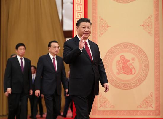 Party and state leaders Xi Jinping, Li Keqiang, Li Zhanshu, Wang Yang, Wang Huning, Zhao Leji, Han Zheng and Wang Qishan attend a Chinese Lunar New Year reception at the Great Hall of the People in Beijing, capital of China, Jan. 23, 2020. The Communist Party of China (CPC) Central Committee and the State Council held the reception on Thursday in Beijing. (Xinhua/Ding Lin)