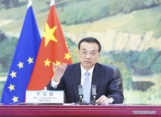 Chinese Premier Li Keqiang holds the 22nd China-European Union (EU) leaders' meeting with President of the European Council Charles Michel and President of the European Commission Ursula von der Leyen via video link in Beijing, capital of China, June 22, 2020. (Xinhua/Pang Xinglei)