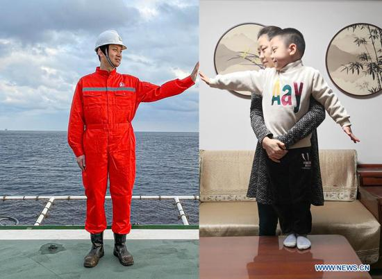Combo photo shows Shi Jihui on the Kantan No. 3 offshore oil platform in the northern waters of the South China Sea, Feb. 13, 2021 (L), and his wife and son at their home in Shanghai, east China, Feb. 11, 2021. At present, the platform is drilling offshore oil and gas resources in the northern South China Sea. During the Spring Festival this year, Shi Jihui, the manager of the platform, stuck to his post on the platform and was unable to reunite with his wife and child in Shanghai. This is also the eighth time he spent Chinese Lunar New Year on the drilling platform. As a part of the preventative measures against COVID-19, China has encouraged people to stay locally for the Chinese New Year. Many Chinese chose not to go back to their hometowns for family gatherings, opting instead to stay where they were for the most important holiday of the year. Xinhua reporters helped those who didn't go back to their hometowns