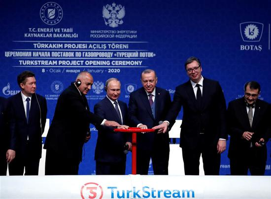 From second left: Bulgarian Prime Minister Boyko Borissov, Russian President Vladimir Putin, Turkish President Tayyip Erdogan and Serbian President Aleksandar Vucic at the launch of the TurkStream pipeline which will carry Russian natural gas to southern Europe.