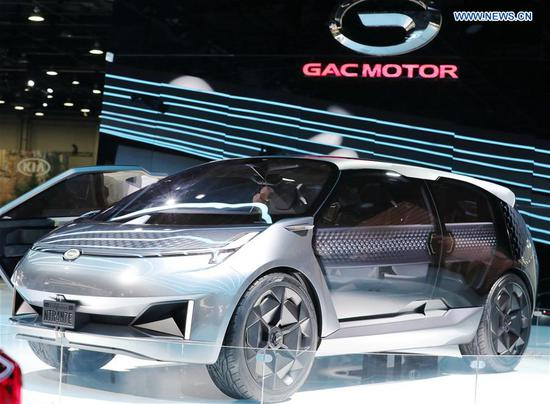 Photo taken on Jan. 15, 2019 shows a GAC Motor's concept vehicle Entranze at the 2019 North American International Auto Show (NAIAS) in Detroit, the United States. The annual Detroit auto show opened Monday and will last till Jan. 27. (Xinhua/Wang Ping)