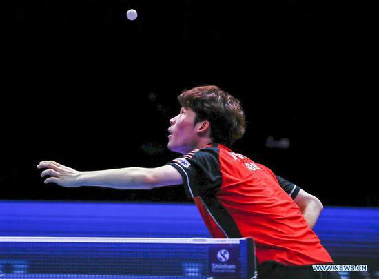 Jang Woojin of South Korea competes during the men's single final match against Liang Jingkun of China at the ITTF World Tour Platinum Korea Open in Daejeon, South Korea, July 22, 2018. Jang Woojin won 4-0. (Xinhua/Wang Jingqiang)