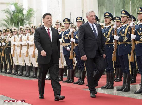 Chinese President Xi Jinping (L, front) holds a welcoming ceremony for Cuban President Miguel Diaz-Canel before their talks at the Great Hall of the People in Beijing, capital of China, Nov. 8, 2018. (Xinhua/Wang Ye)