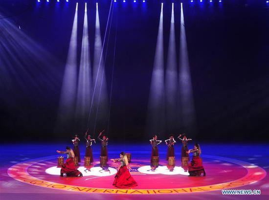 Acrobats perform during the 17th China Wuqiao International Circus Festival at Cangzhou Gymnasium in Cangzhou City, north China's Hebei Province, Nov. 3, 2019. (Xinhua/Mu Yu)
