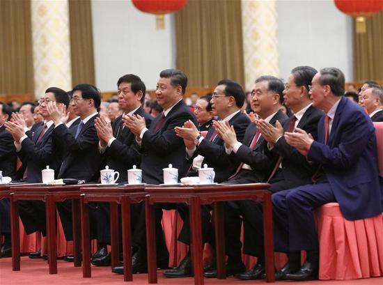 Party and state leaders Xi Jinping, Li Keqiang, Li Zhanshu, Wang Yang, Wang Huning, Zhao Leji, Han Zheng and Wang Qishan attend a Chinese Lunar New Year reception at the Great Hall of the People in Beijing, capital of China, Jan. 23, 2020. The Communist Party of China (CPC) Central Committee and the State Council held the reception on Thursday in Beijing. (Xinhua/Liu Weibing)