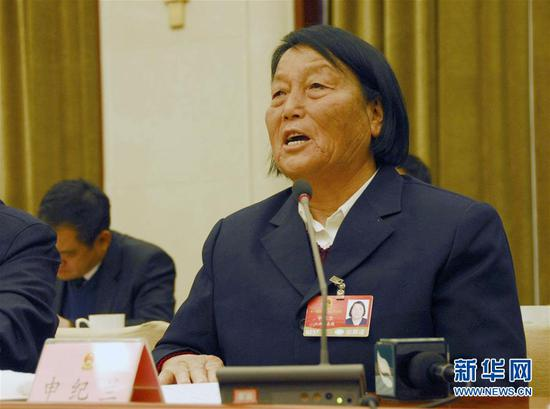 Shen Jilan speaks during a group deliberation of the Government Work Report during the annual meeting of the National People's Congress, March 5, 2009. [Photo/Xinhua]