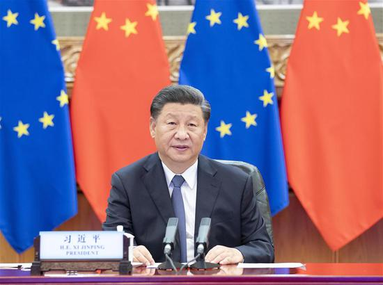 Chinese President Xi Jinping co-hosts a China-Germany-EU leaders' meeting in Beijing, capital of China, Sept. 14, 2020, via video link with German Chancellor Angela Merkel, whose country currently holds the EU's rotating presidency, European Council President Charles Michel and European Commission President Ursula von der Leyen. (Xinhua/Li Tao)