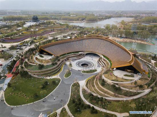 Aerial photo taken on April 19, 2019 shows the China Pavilion of the 2019 Beijing International Horticultural Exhibition (Expo 2019 Beijing) in Yanqing District of Beijing, capital of China. The 2019 Beijing International Horticultural Exhibition is slated to kick off on April 29, 2019. (Xinhua/Ju Huanzong)