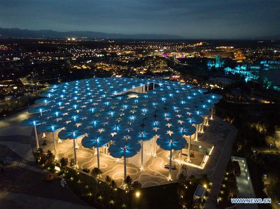 Aerial photo taken on April 19, 2019 shows the night view of the International Pavilion of the 2019 Beijing International Horticultural Exhibition (Expo 2019 Beijing) in Yanqing District of Beijing, capital of China. The 2019 Beijing International Horticultural Exhibition is slated to kick off on April 29, 2019. (Xinhua/Ju Huanzong)