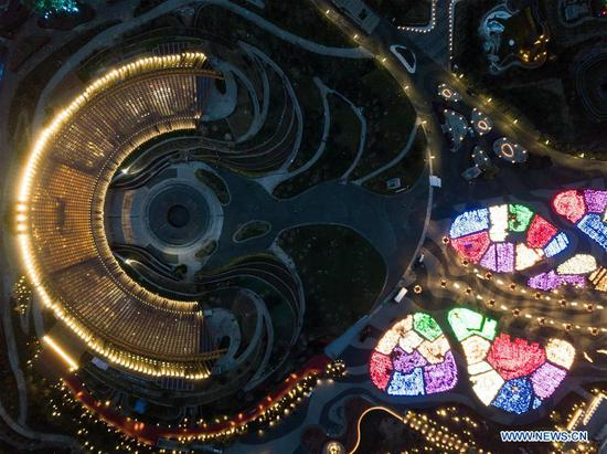 Aerial photo taken on April 19, 2019 shows the night view of the China Pavilion of the 2019 Beijing International Horticultural Exhibition (Expo 2019 Beijing) in Yanqing District of Beijing, capital of China. The 2019 Beijing International Horticultural Exhibition is slated to kick off on April 29, 2019. (Xinhua/Ju Huanzong)