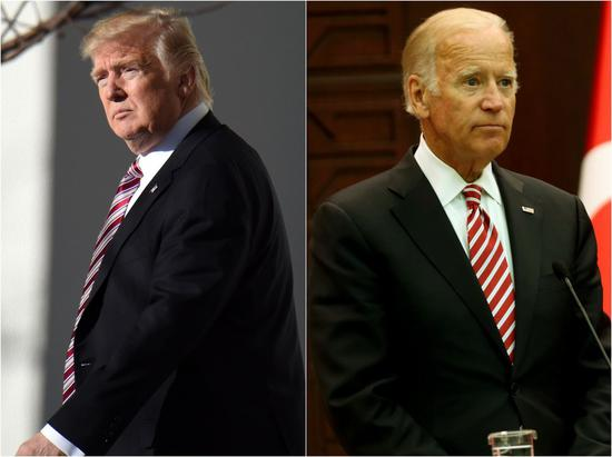 Combo photo shows U.S. President Donald Trump (L) and his Democratic rival Joe Biden attending their respective events on different occasions. (Xinhua)