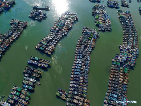 Aerial photo taken on July 10, 2018 shows fishing boats at berth at a harbor in Lianjiang County, southeast China's Fujian Province, as Typhoon Maria, the eighth typhoon this year, approaches the Chinese coast. China's National Meteorological Center (NMC) issued this year's first red alert for Typhoon Maria, which is expected to hit China's coastal provinces on Wednesday morning. (Xinhua/Jiang Kehong)