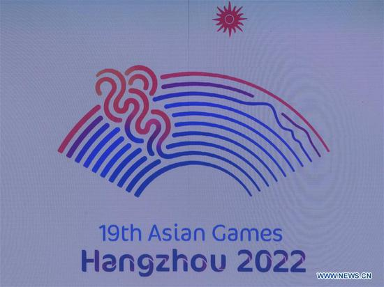 Photo taken on Aug. 6, 2018 shows the Emblem at the Launch Ceremony for the 19th Asian Games Hangzhou 2022 in Hangzhou, capital of east China's Zhejiang Province.(Xinhua/Huang Zongzhi)