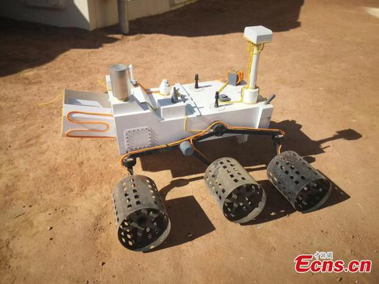 Photo taken on April 17, 2019 show the models of Mars rovers are seen at