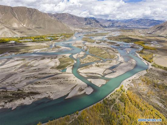 Aerial photo taken on Oct. 7, 2019 shows a view of the Lhasa River valley in Lhasa, southwest China's Tibet Autonomous Region. (Photo by Sun Fei/Xinhua)