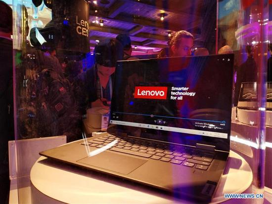 Photo taken on Jan. 8, 2020 shows a Lenovo 5G personal computer at the 2020 Consumer Electronics Show in Las Vegas, the United States. China's tech giant Lenovo has launched the world's first 5G personal computer at the ongoing 2020 Consumer Electronics Show in Las Vegas, for the first time bringing 5G connectivity to a premium computing experience beyond smartphone technology. (Xinhua/Wu Xiaoling)