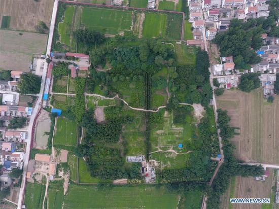 File photo shows a panoramic view of the Pingliangtai Ancient City ruins in Huaiyang, central China's Henan Province. Archaeologists have unearthed a number of pottery drain pipes at a Neolithic site of Longshan Culture dating back more than 4,000 years and believe they form China's earliest and most complete urban drainage system. The city drainage system was excavated in the Pingliangtai Ancient City ruins in central China's Henan Province. (Xinhua)