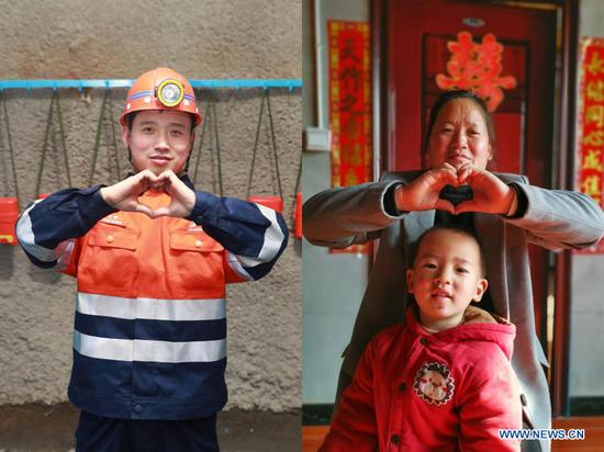Combo photo shows Chen Lin making a hand heart gesture in the mine in Jinchang of northwest China's Gansu Province on Feb. 11, 2021 (L, photo taken by Du Zheyu), and Chen's mother making a hand heart gesture with Chen's younger son in Langzhong of southwest China's Sichuan Province on Feb. 12, 2021 (R). Chen Lin, 34, works at the third mining zone of the Jinchuan Group in Jinchang. This year, Chen chose not to return hometown during the Spring Festival and stay put with his wife and older son to help curb the pandemic. Though away from home, Chen has received specialties sent by his parents from hometown to help create atmosphere of the festival. They also sent each other New Year's greetings via video link. As a part of the preventative measures against COVID-19, China has encouraged people to stay locally for the Chinese New Year. Many Chinese chose not to go back to their hometowns for family gatherings, opting instead to stay where they were for the most important holiday of the year. Xinhua reporters helped those who didn't go back to their hometowns