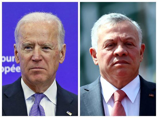 Combo photo shows U.S. President Joe Biden (L) and Jordan's King Abdullah II on different occasions. (Xinhua)