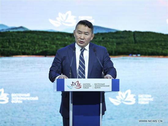 Mongolian President Khaltmaa Battulga addresses the plenary session of the fourth Eastern Economic Forum (EEF) held in Vladivostok in Russia's Far East, on Sept. 12, 2018. (Xinhua/Pang Xinglei)