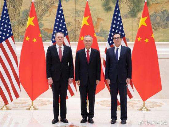 Chinese Vice Premier Liu He (center), also a member of the Political Bureau of the Communist Party of China Central Committee and chief of the Chinese side of the China-U.S. comprehensive economic dialogue, U.S. Trade Representative Robert Lighthizer (left), and Treasury Secretary Steven Mnuchin (right) participate in a new round of high-level economic and trade consultations in Beijing on Feb. 14, 2019. [File Photo: Xinhua]