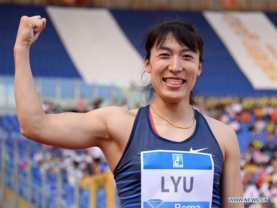 Lyu Huihui of China celebrates after the women's javelin throw final at the IAAF Rome Diamond League in Rome, Italy, June 6, 2019. Lyu Huihui won the gold. (Xinhua/Alberto Lingria)