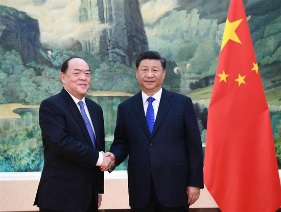 Chinese President Xi Jinping meets with Ho Iat Seng, the newly elected and appointed chief executive of the Macao Special Administrative Region, at the Great Hall of the People in Beijing, capital of China, Sept. 11, 2019. (Xinhua/Xie Huanchi)