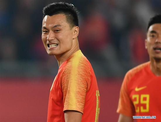 Gao Lin of China reacts during the CFA Team China International Football Match 2018 between China and Syria in Nanjing, capital of east China's Jiangsu Province, Oct. 16, 2018. China won 2-0. (Xinhua/Ji Chunpeng)
