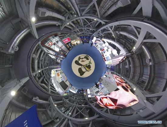 Panorama photo taken on Nov. 5, 2019 shows the Trade in Services exhibition area during the second China International Import Expo (CIIE) in Shanghai, east China. The second CIIE kicked off Tuesday at the National Exhibition and Convention Center in Shanghai. (Xinhua/Yin Ke)