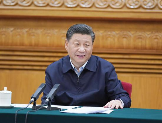 Chinese President Xi Jinping, also general secretary of the Communist Party of China Central Committee and chairman of the Central Military Commission, presides over a symposium attended by experts and scholars in Beijing, capital of China, June 2, 2020. (Xinhua/Li Xueren)