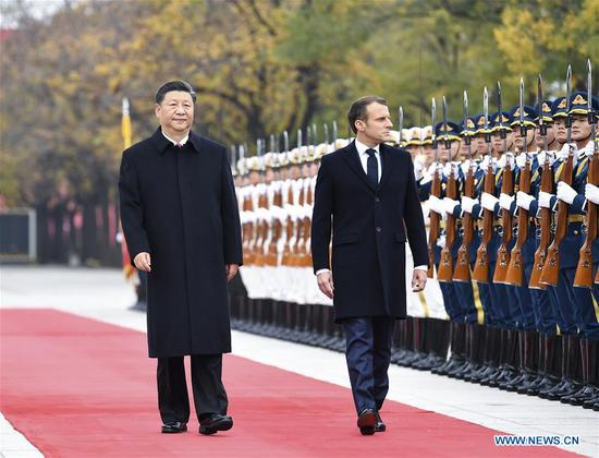 Chinese President Xi Jinping holds a welcome ceremony for French President Emmanuel Macron before their talks in Beijing, capital of China, Nov. 6, 2019. (Xinhua/Yan Yan)
