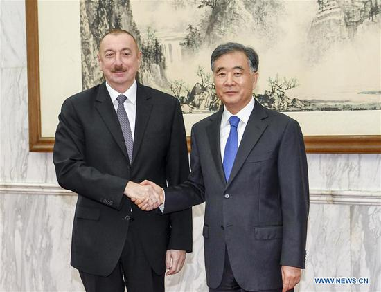 Wang Yang (R), chairman of the Chinese People's Political Consultative Conference National Committee, meets with Azerbaijani President Ilham Aliyev ahead of the Second Belt and Road Forum for International Cooperation in Beijing, capital of China, April 24, 2019. (Xinhua/Gao Jie)