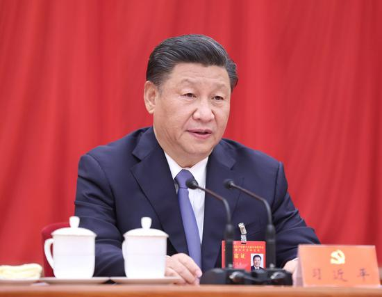 Xi Jinping, general secretary of the Communist Party of China (CPC) Central Committee, makes an important speech at the fifth plenary session of the 19th CPC Central Committee in Beijing, capital of China. (Xinhua/Ju Peng)