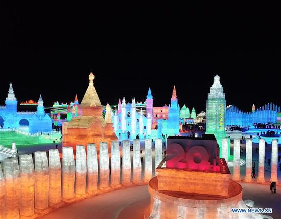 Tourists visit the Ice-Snow World in Harbin, capital of northeast China's Heilongjiang Province, Jan. 5, 2019. The 35th Harbin International Ice and Snow Festival kicked off here on Saturday. (Xinhua/Wang Song)
