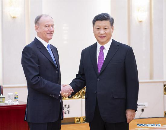 Chinese President Xi Jinping meets with Russian Security Council Secretary Nikolai Patrushev at the Great Hall of the People in Beijing, capital of China, Dec. 2, 2019. (Xinhua/Li Tao)