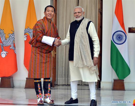 Indian Prime Minister Narendra Modi (R) meets with Bhutan's Prime Minister Lotay Tshering in New Delhi, India, Dec. 28, 2018. (Xinhua/Partha Sarkar)