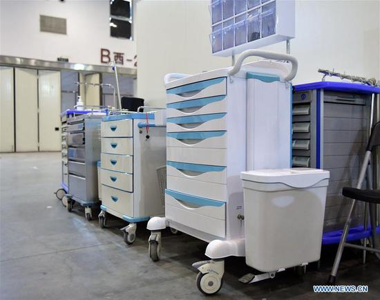 Photo taken on Feb. 8, 2020 shows medical equipment in the nursing unit B of
